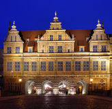 Gdansk at night. Green Square Town Gate, probably the oldest of the gates of Gdansk water Stock Images