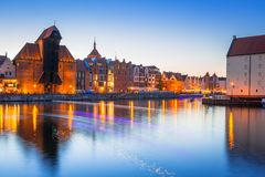 Gdansk at night with historic port crane Stock Image