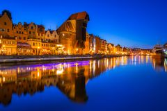 Gdansk at night with historic port crane Royalty Free Stock Photography