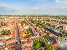 Gdansk old city landscape with air. Aerial view of the streets of Dluga and Gdańsk Shakespearean Theater. Stock Images