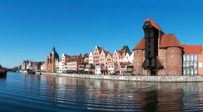 Gdansk old city panorama, Poland. Panorama of Gdansk old city in Poland with the oldest medieval port crane (Zuraw) in Europe and Weltawa river stock photo