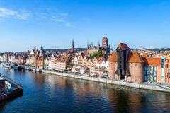 Gdansk old city, Poland. Aerial view. Gdansk old city in Poland with the oldest medieval port crane Zuraw in Europe, St Mary church, Town hall tower and Motlawa Stock Photos