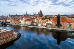 Gdansk old city, Poland. Aerial view. Gdansk old city in Poland with the oldest medieval port crane Zuraw in Europe, St Mary church, Town hall tower and Motlawa Stock Photography