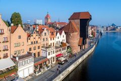 Gdansk, Poland. Old city and Motlawa River. Aerial view. Gdansk old city in Poland with the oldest medieval port crane Zuraw in Europe, St John church and Royalty Free Stock Images