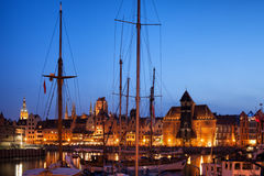 Gdansk Old Port City by Night Royalty Free Stock Photography