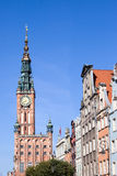 Gdansk Old Town. Town Hall (Polish: Ratusz Glownego Miasta) and apartment houses in the Old Town of Gdansk (Danzig) in Poland Royalty Free Stock Images