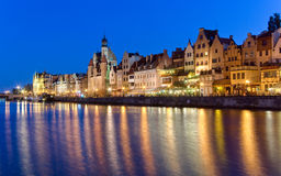 Gdansk Old Town. View of water and Gdansk Old Town Royalty Free Stock Images