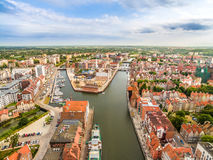 Gdansk - old town from the bird`s eye view. The landscape of Gdansk with the old Motlawa and the island of Spichrzów. Tourist Attractions in Gdansk. Old Stock Photos