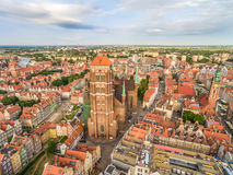 Gdansk - old town from the bird`s eye view. Landscape of Gdansk with St Mary`s Basilica and the horizon. Tourist attractions and monuments of the city of Gdansk Royalty Free Stock Image