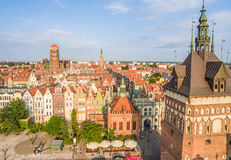 Gdansk - old town from the bird`s eye view. Landscape of Gdansk with visible St. Mary`s Basilica. stock photography
