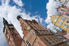 Gdansk Old Town and City Hall Stock Photography