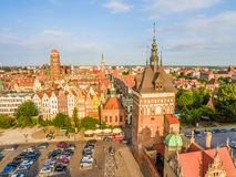 Gdansk - old town. City landscape with Prison Tower and Basilica visible in the distance. Tourist attractions and monuments of cities of Gdansk seen from the royalty free stock image