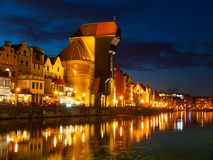 Gdansk Old Town and famous crane by night Stock Images