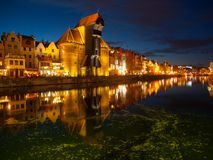 Gdansk Old Town and famous crane by night. Poland Stock Images