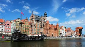 Gdansk old town and famous crane at sunny day stock video footage