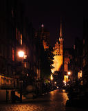 Gdansk old town. Historic center of Gdansk. Gdansk old town . View from Motlawa river. Poland at romantic night Stock Image