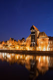 Gdansk Old Town at Night River View Royalty Free Stock Image