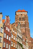 Gdansk old town, Poland. Beautiful buidlings and St. Mary's Church in old town of Gdansk, Poland Stock Photography
