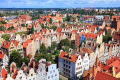 Gdansk Old Town. Poland - Gdansk Old Town in Pomerania region. Old town architecture aerial view Royalty Free Stock Images