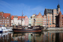 Gdansk Old Town River View Stock Photography