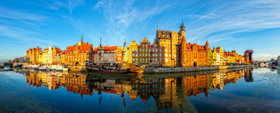 The Gdansk Old Town. The riverside with the characteristic promenade of Gdansk, Poland Stock Images