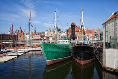 Gdansk Old Town Skyline From The Harbour. River harbour in city of Gdansk in Poland, Europe, Old Town skyline in the background, picturesque urban scenery Royalty Free Stock Images