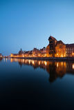Gdansk Old Town Skyline at Twilight. City of Gdansk Old Town skyline at twilight in Poland, water reflection on Old Motlawa river Stock Image