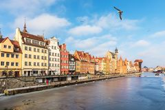 Gdansk Old Town view from the Motlawa, Poland stock image