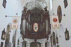 Gdansk Oliwa - organ i domkyrkan, Polen Arkivbilder