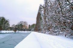 Gdansk Oliwa park in the winter. Snowy winter in the park of Gdansk Oliwa, Poland Royalty Free Stock Photos