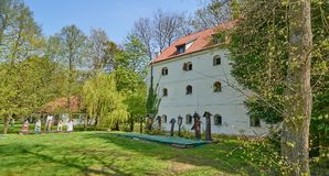 GDANSK OLIWA, POLAND - APRIL 30, 2018: Ethnographic Museum on 30. April 2018 in Gdansk Oliwa, The ethnographic museum is located in a beautiful big old park Royalty Free Stock Photo
