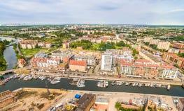 Gdansk - oude stad van de lucht Landschap van Gdansk met St Mary ` s Basiliek Stock Fotografie