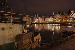 Gdansk på natten Royaltyfri Fotografi