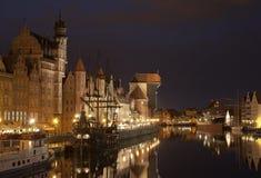 Gdansk på natten, Polen Arkivfoton