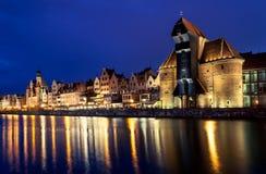 Gdansk på natten, Polen Royaltyfria Foton