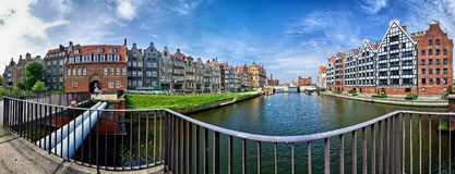 Gdansk panorama. Gdansk, Old Town. The view from the bridge over the River Cow Motlawa Royalty Free Stock Photo
