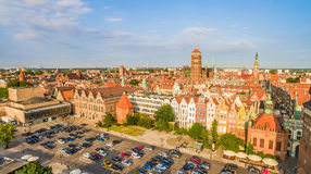 Gdansk - panorama of the old town with the visible tower of the Basilica and the Great Armory. Photos of drones. Aerial view of Gdansk with old buildings and stock photos