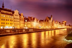Gdansk pink sunset on the Motlawa river, winter view.  royalty free stock photography