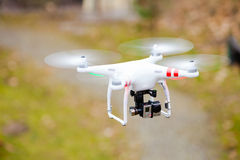 GDANSK, POLAND � MARCH 01, 2014: drone with camera. GDANSK, POLAND � MARCH 01, 2014: professional drone of Quadrocopter Phantom with movie camera royalty free stock photo