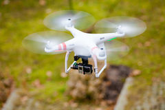GDANSK, POLAND � MARCH 01, 2014: drone with camera. GDANSK, POLAND � MARCH 01, 2014: professional drone of Quadrocopter Phantom with movie camera stock photography