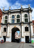 Gdansk, Poland: 1612-14 Golden Gate. The Golden Gate, erected between 1612-1614, is a classic example the classical style with its rooftop statuary and gilded Stock Photo