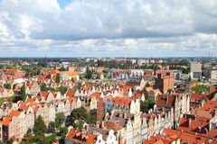 Gdansk, Poland. Poland - Gdansk city (also know nas Danzig) in Pomerania region. Old town aerial view Stock Photography