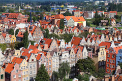 Gdansk, Poland. Gdansk city in Poland (also know nas Danzig) in Pomerania region. Old town aerial view stock photography