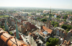 Gdansk, Poland from above. This image was taken from the top of St. Marys Church (kosciol Mariacki) located in the city centre Stock Photography