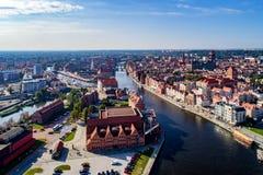 Gdansk, Poland. Aerial skyline with Motlawa River, bridges and m. Gdansk, Poland. Aerial skyline with Motlawa river, bridges, marina, Baltic Philharmonic Hall Stock Photos