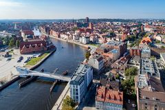 Gdansk, Poland. Aerial skyline with Motlawa River, bridges and m. Gdansk, Poland. Aerial skyline panorama with Motlawa river, 4 bridges, Baltic Philharmonic Hall Royalty Free Stock Photography