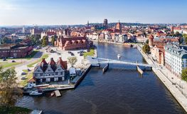 Gdansk, Poland. Aerial skyline with Motlawa River and main m. Gdansk, Poland. Aerial skyline panorama with Motlawa river, modern drawbridge, concert hall and all Stock Images