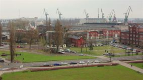 Industrial area of shipyard in Gdansk. stock video footage