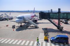 Wizz air plane on Lech Walesa Airport Royalty Free Stock Photos