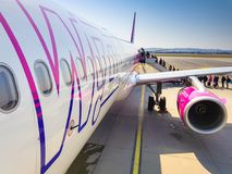 Wizz air plane on Lech Walesa Airport in Gdansk, Poland. Royalty Free Stock Image